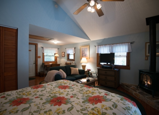 Spring House cottage...exceptionally romantic with queen bed, propane fireplace, deck and bath.