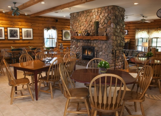 The dining area is perfect for private intimate dining or as a special gathering place.