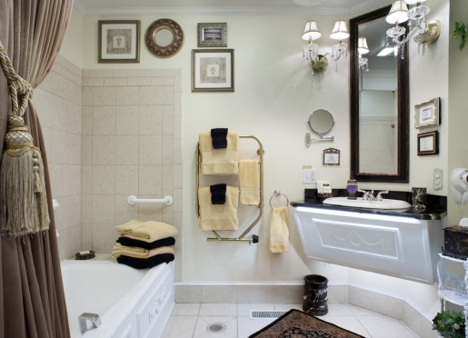 the Hyde Park four-head body spray,whirlpool, Irish towel warmer, make-up mirror and HDTV!
