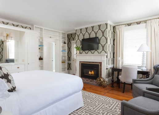 Our Kennebunkport inn features this serene and lovely suite with an amazing bath and fireplace.