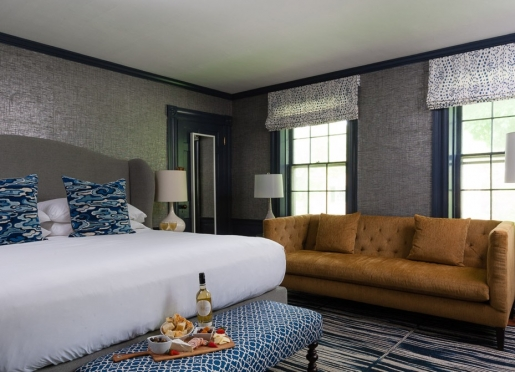 Our Kennebunkport inn's namesake room is sexy and stylish.