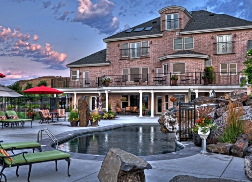 Backyard pool and patio.