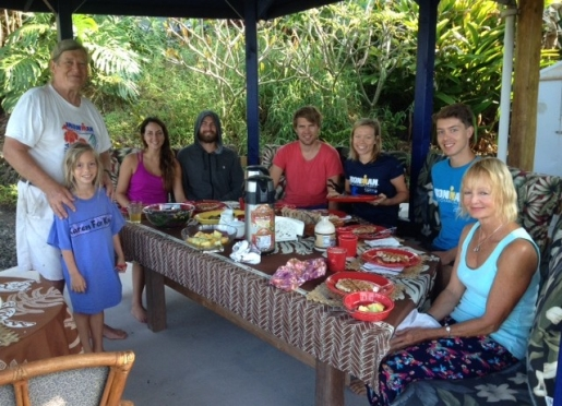 Guest and hosts in our Ocean View Breakfast Gazebo