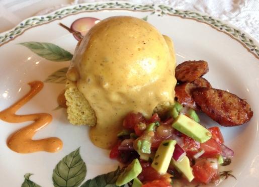 Cajun Eggs with Andouille Sausage and Avocado Salsa