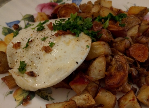 Mixed Root Vegetable Hash served with local pasture raised egg.