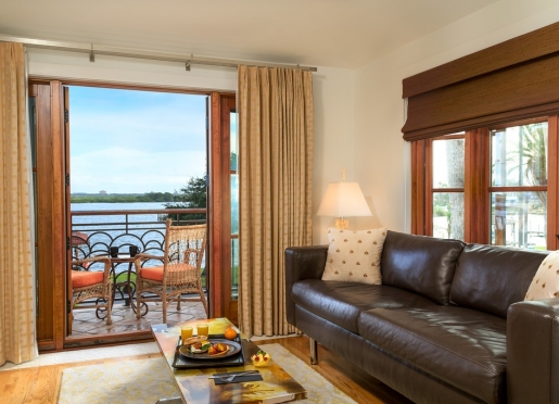 Bay Front Suite - with parlor area and private balcony.