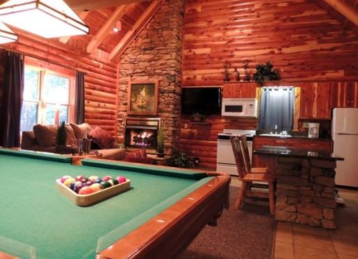 Cedar Cabin #6 Features an in-room Billiards Table