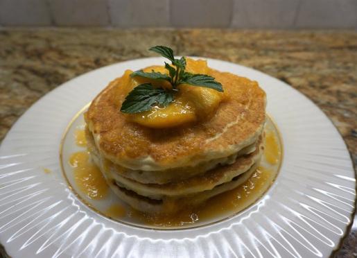 Buttermilk pancakes with pecan carmel sauce