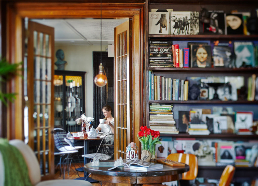 Immerse yourself in our art book library and record collection while visiting our unique B&B