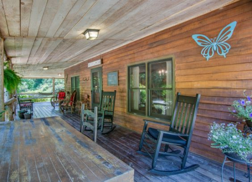 Relax on the front porch at Butterfly Hollow
