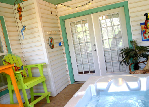 Parrot's Cove Hot Tub porch